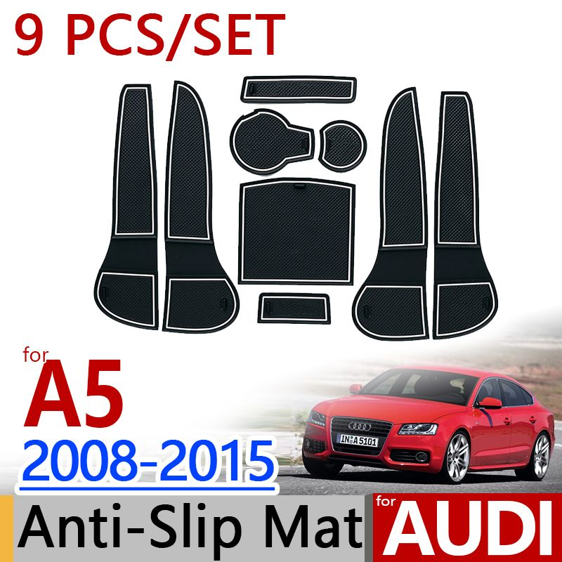 for AUDI A5 2008-2015 B8 Anti-Slip Rubber Cup Cushion Door Mat 9pcs Sportback Coupe RS5 S5 2012 Accessories Car Styling Sticker
