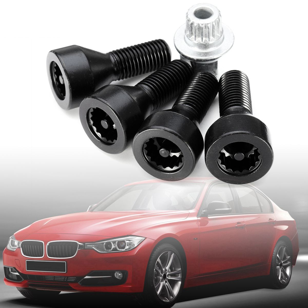 Wheel Lock Set Black Lug Bolts For BMW 128i 135i 318i 323i 325i 328i 330i 335i 525i 528i 530i 535i 540i 545i 550i 650i 735i 740i