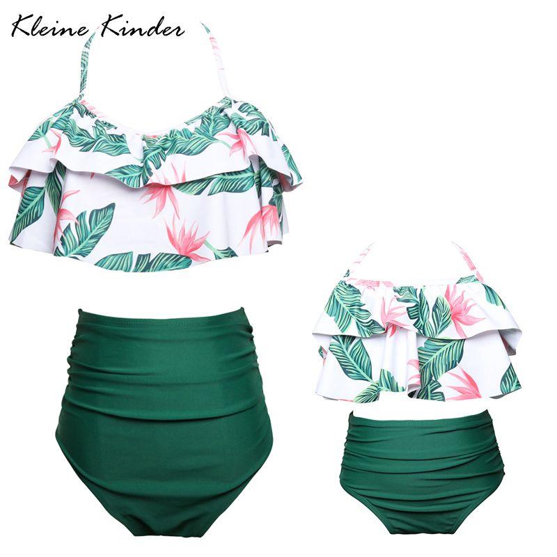 Mutter und Tochter Badeanzug Mama und Mich Bademode 2019 Bikini Strand Familie Passenden Kleidung Outfits 2-Stück frauen badeanzug