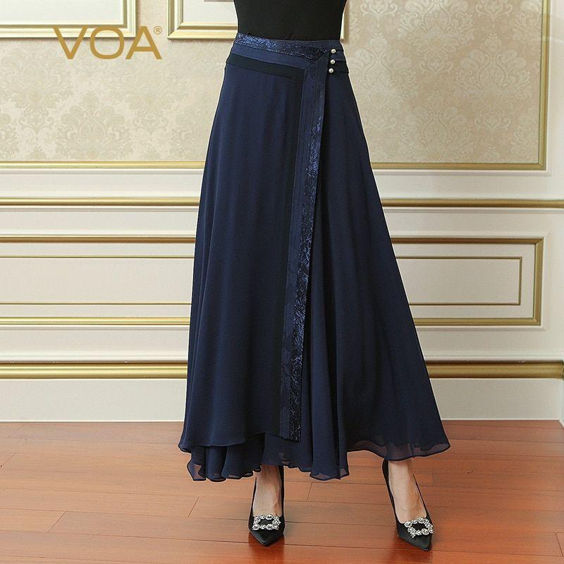 VOA 2018 Spring Summer Navy Blue Plus Size Loose Women Maxi Long Pleated Skirt Silk Georgette Brief Solid Casual Skirt CLA02801