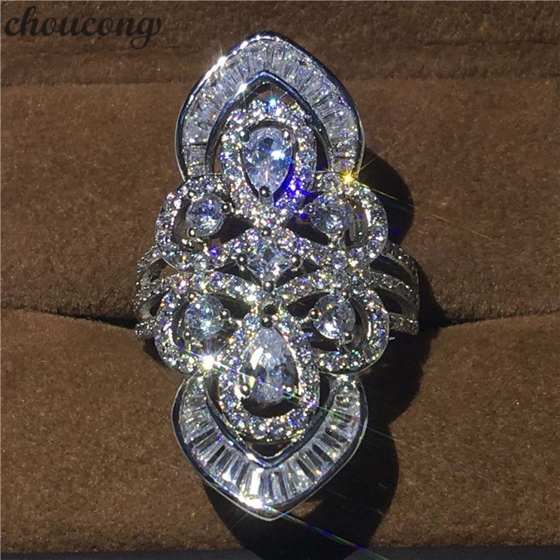 choucong Luxury Big court Ring 5A Zircon sona Cz 925 Sterling Silver Engagement Wedding Band Rings for women men Baroque Jewelry