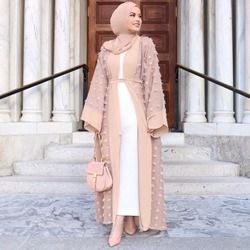 Élégant Musulman Floral Abaya Robe Fleurs Lâche Cardigan Longue Robe Robes Kimono Jubah Ramadan Arabe Thobe Islamique Prière Vêtements
