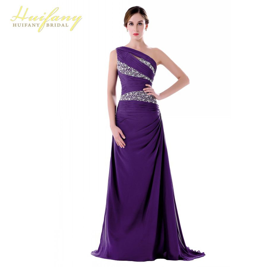Long Bridesmaid Dresses Elegant One Shoulder Crystal Beaded Yellow/Purple/Blue/Green Wedding Party Dresses for Women Plus Size