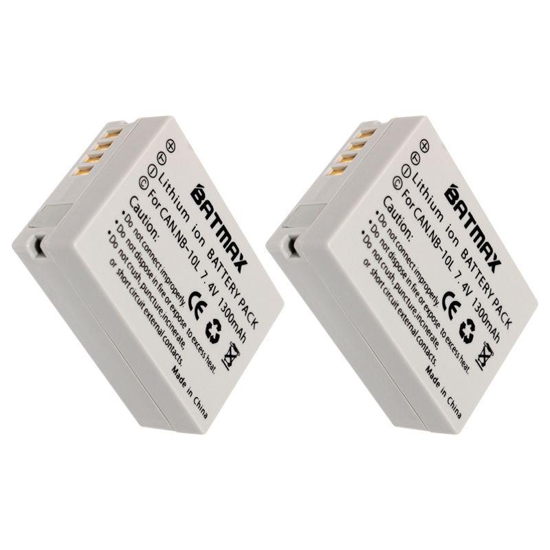 2Pcs NB10L NB 10L Digital Camera Battery Pack for Canon G1X G15 G16 SX40HS SX50HS SX60HS SX40 SX50 SX60 HS Camera (1300mAh)