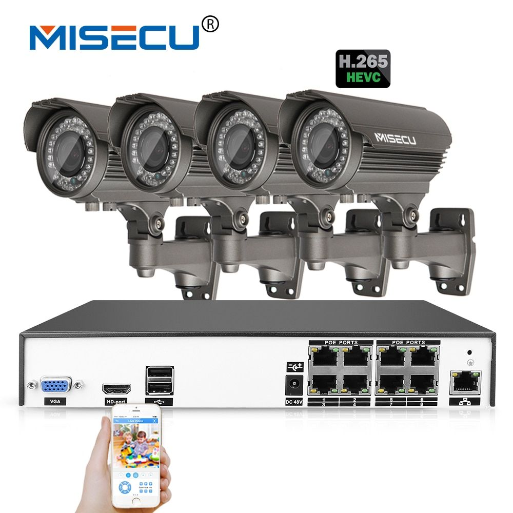 MISECU H.265 4.0MP 4K 48V 2.8-12mm zoom 8Ch POE Hi3516D OV4689 P2P HDMI 4pc Metal 36pc IR night vision XMeye Surveillance CCTV