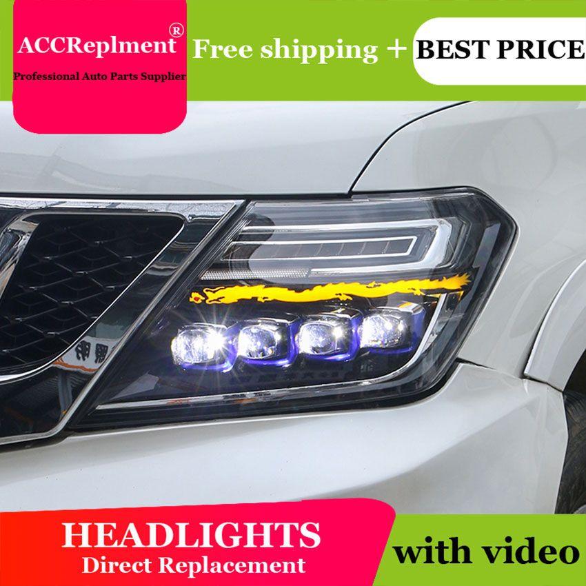 Auto Beleuchtung Stil LED Kopf Lampe für Nissan patrol led scheinwerfer 2012-2019 signal angel eye drl H7 hid bi-Xenon-Objektiv abblendlicht
