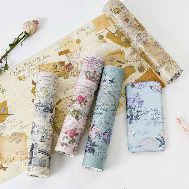 Creative Vingate Decorative Washi Tapes DIY Scrapbooking Masking Tapes School Office Supply Big Size20cm*5M 1 pcs