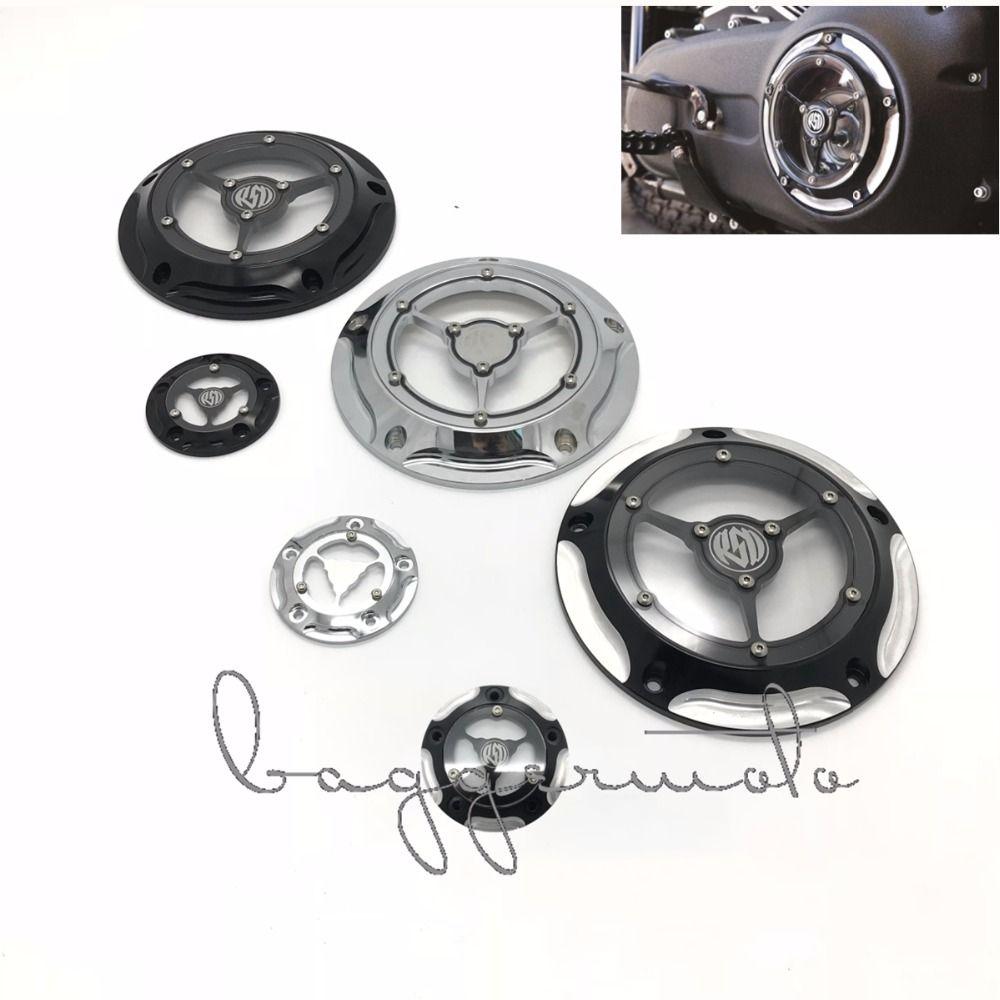 РСД мотоциклетные Дерби крышка и сроки таймер Чехлы для мангала ЧПУ Алюминий 5 отверстий для Harley Road King Softail Dyna FLHRS fltfb хром Черный