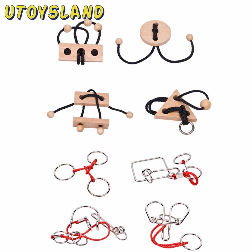 UTOYSLAND 8pcs/set Wire Puzzles Brain IQ Teaser Classical Intellectual Kids Game Toy for Children Adult Montessori Toys