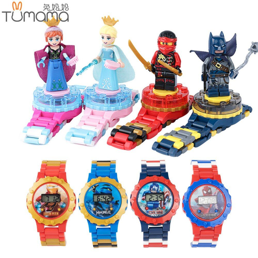 Super Hero Watch Building blocks Ninjagoed Marveling Avengers Figures Bricks Toys Compatible with Minecrafted Block Watch