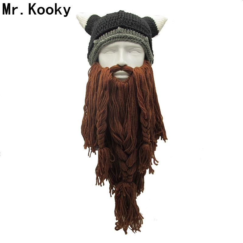 Mr.Kooky Men's Barbarian Vagabond Viking Beard Beanie Horn Hats Handmade Winter Warm Birthday Cool Gifts Funny Gag Halloween Cap