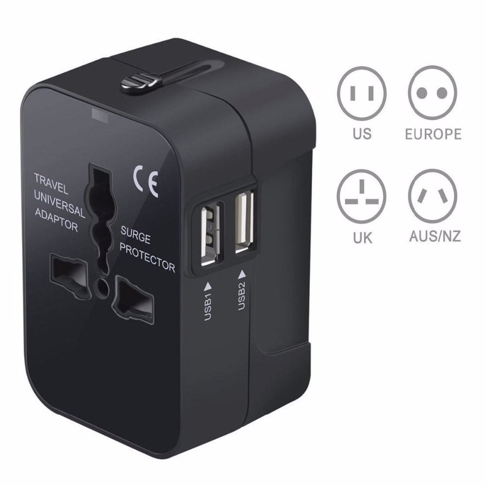 Travel Adapter Worldwide Power Converters AC Adapter Wall Charger with Dual USB Charging Ports for USA EU UK AUS phone laptop