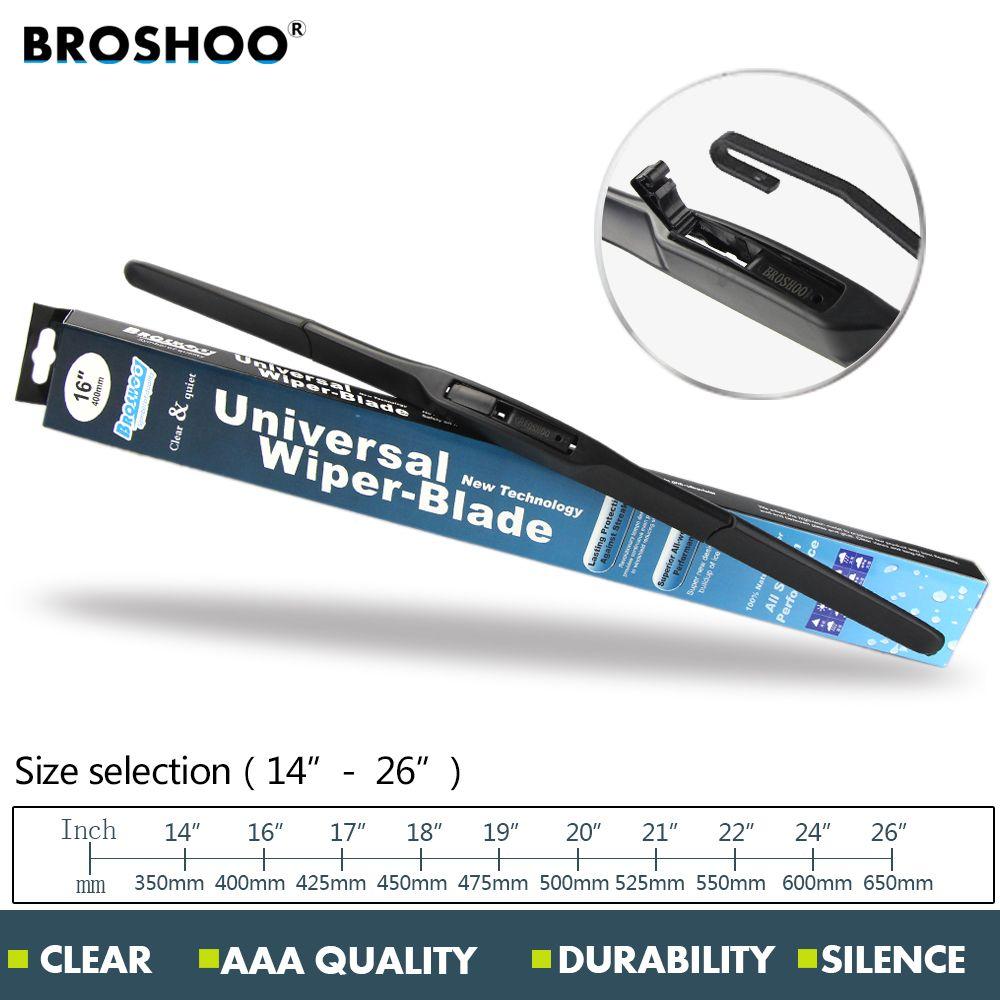 BROSHOO Car Wiper Blade U hook 14 16 17 18 19 20 21 22 24 26 inch Natural Rubber strip windscreen wipers Auto Car accessories