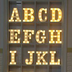 DIY LED noche luces 3D forma de corazón bebé niños casa dormitorio decoración niños regalo lámpara de noche luminaria 26 letras nightlight