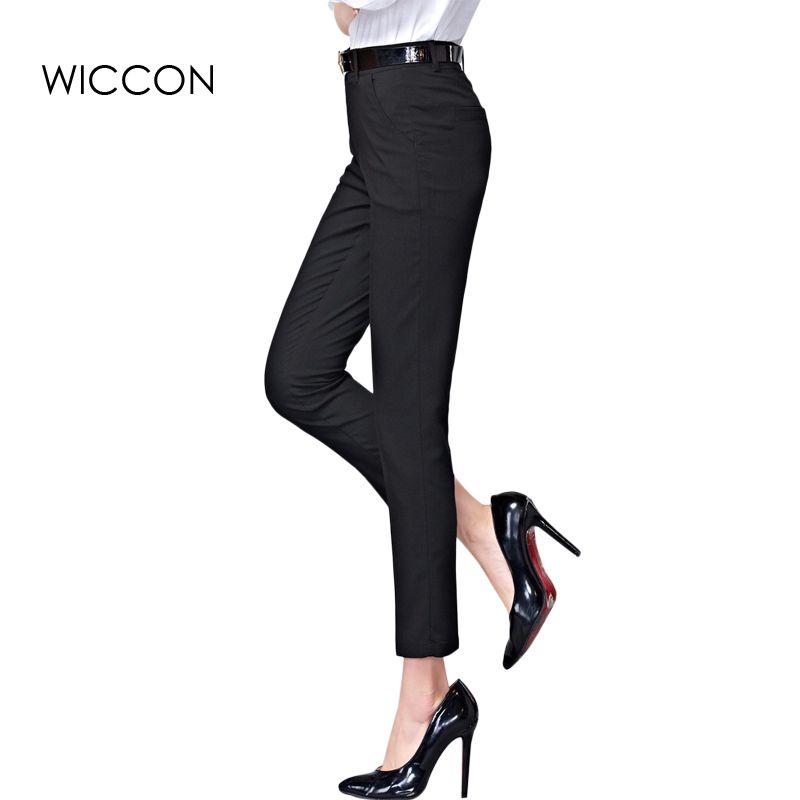 Printemps Nouvelle Mode Taille Haute Crayon Pantalons pour Femmes Bureau OL Travail Porter Maigre Pantalon Femelle Cru Pantalon Pantalon Femme