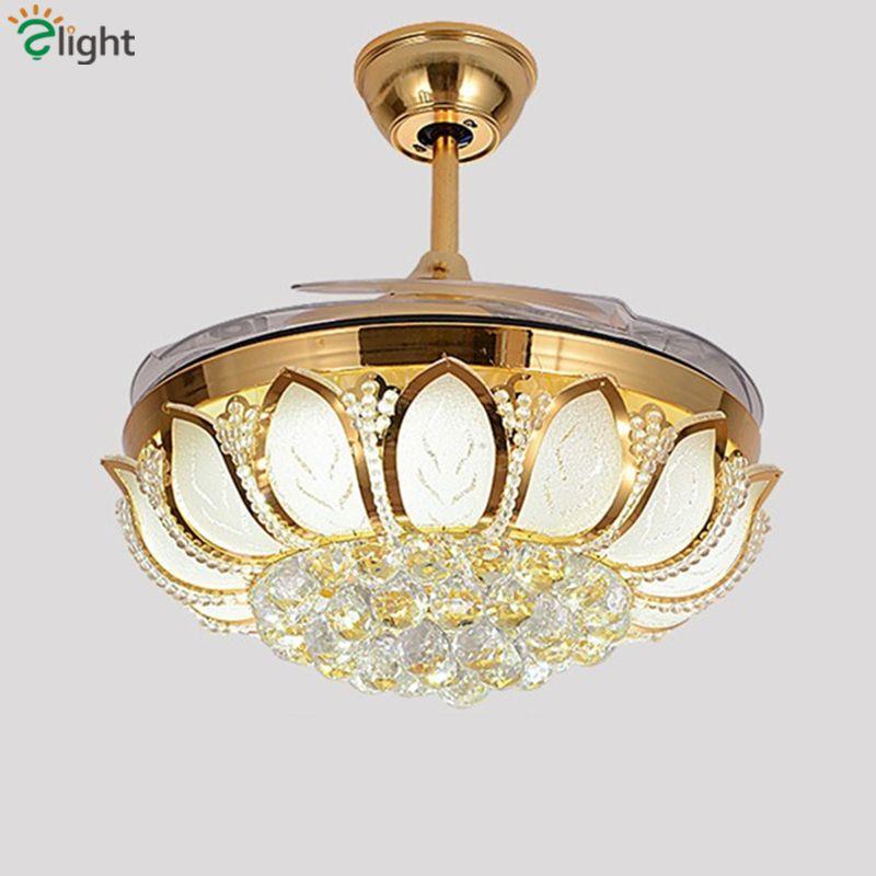 Moderne folding blatt dimmbare led deckenventilatoren glanz kristall esszimmer zimmer led deckenventilator lampe gold metall led deckenventilator lichter