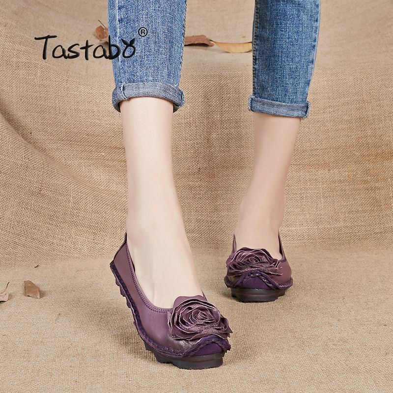 Tastabo Plus Size Shoe Woman Flat Genuine Leather Women Brand Casual Shoes Loafers Fashion Flower Flats Moccasins Ladies Shoe
