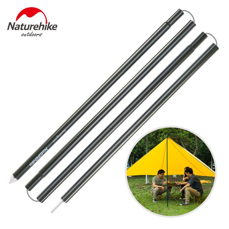 Aluminium Folding Tent Pole Outdoor Awning Hiking Camping Sun Shelter Reinforced Easy Compact Tent Support Rod Poles 2m x 2pcs