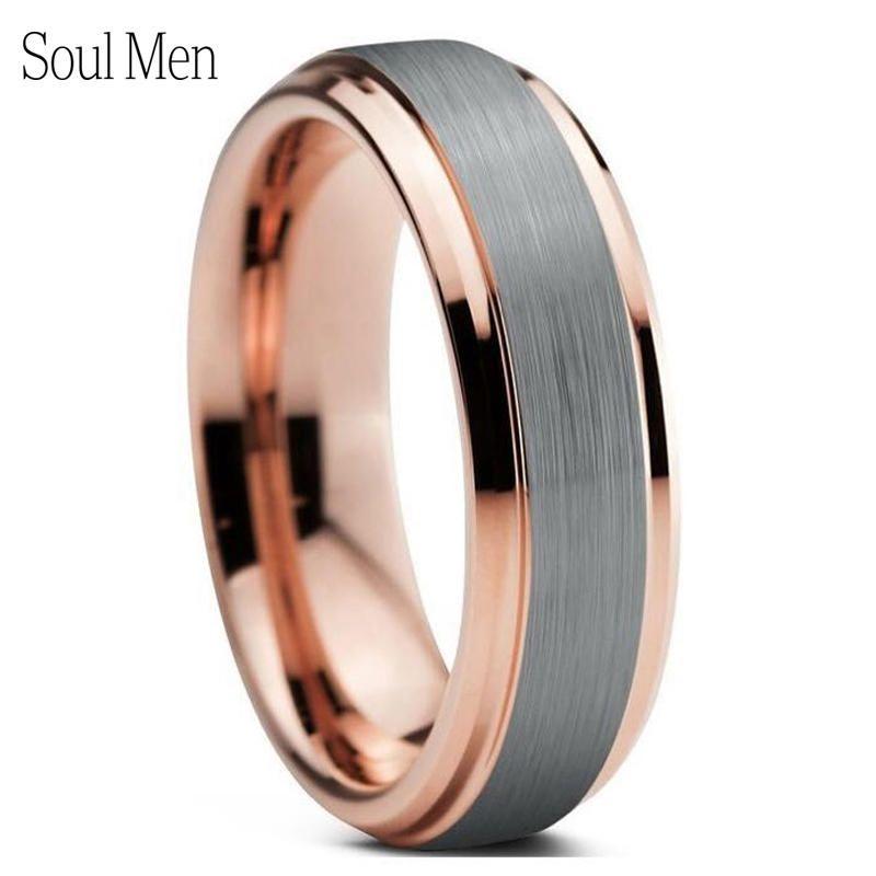 Brésil russe offre spéciale hommes argent et or Rose couleur tungstène bague de mariage pour les femmes 6mm bijoux en métal USA 7 à 13