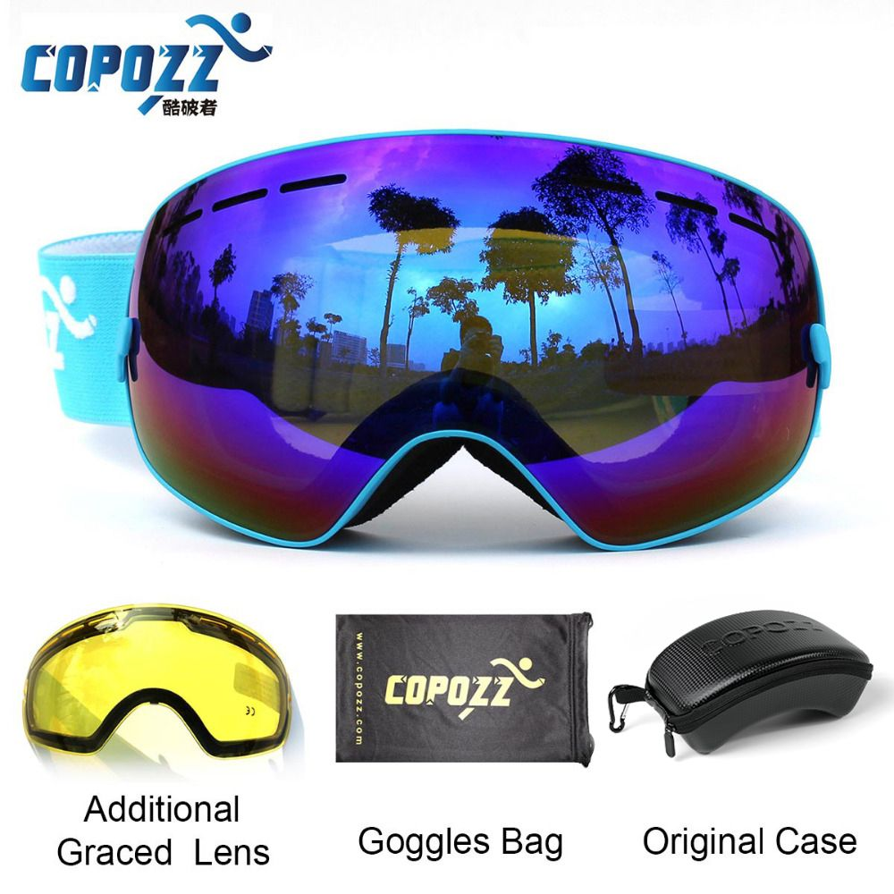 COPOZZ Ski Goggles with Case & Yellow Lens UV400 Anti-fog Spherical ski glasses skiing men women snow goggles + Lens + Box Set