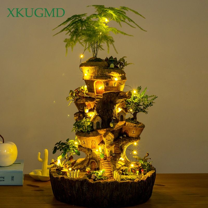 Runde Turm Baum Haus Blumentopf Solar Lampe Sukkulenten Pflanzen Pflanzer Fee Garten Skulptur Micro Landschaft Topf Dekoration