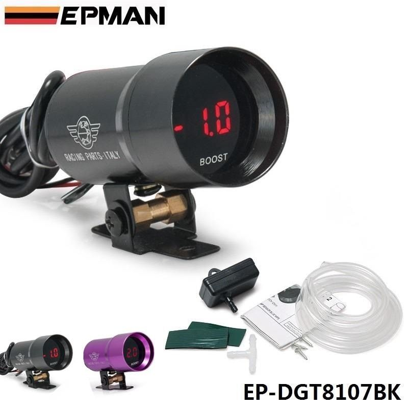 EPMAN - 37mm COMPACT MICRO DIGITAL SMOKED BOOST BAR GAUGE UNIVERSAL 3-4-6-8 CYLINDER ENGINES Black,Purple For BMW f20 EP-DGT8107
