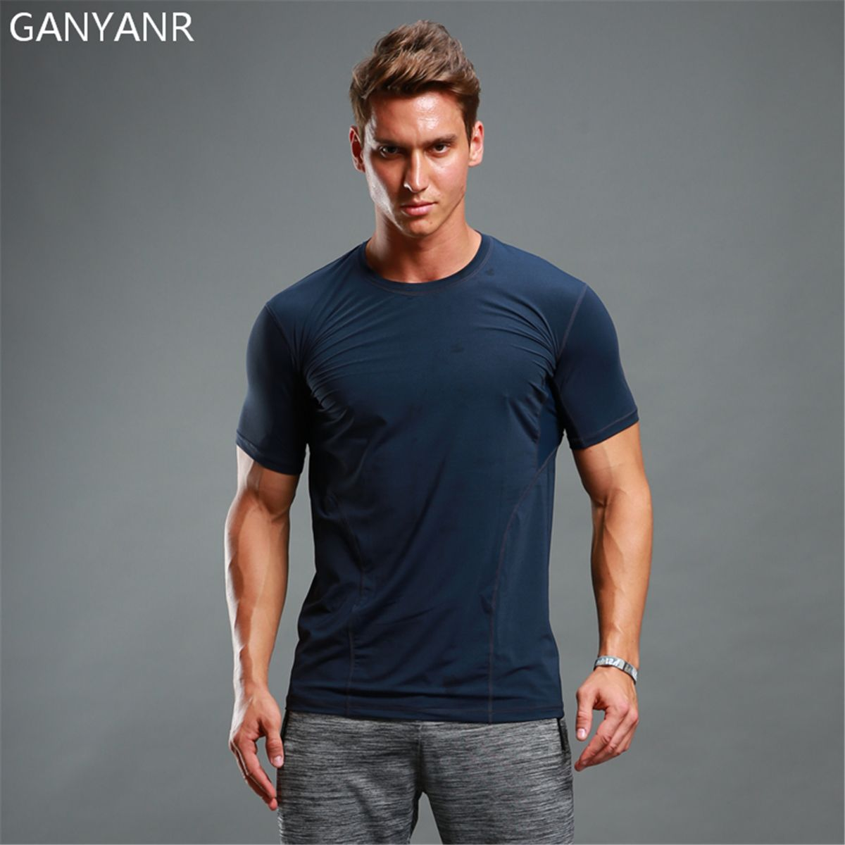 GANYANR Brand Running T Shirt Men Basketball Tennis Sportswear Compression quick dry Tops Slim Fit Short Sleeve Exercise Tights