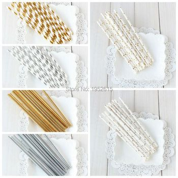 25pcs/lot Gold /Silver Foil Paper Straws for kids birthday & wedding decorative party event supplies Creative Drinking Straws