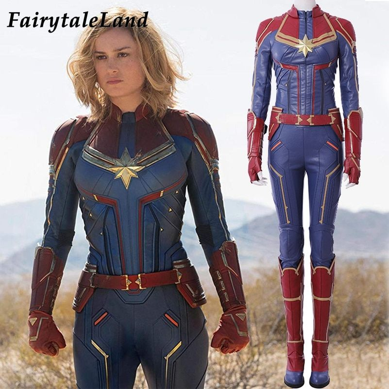 Captain Marvel Cosplay Costume Carol Danvers 2019 Superhero Halloween Costumes Ms. Marvel Jumpsuit Cosplay Carol Danvers Costume