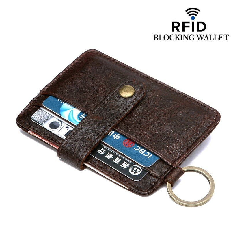 RFID Blocking Genuine Leather Solid Pattern Business Antimagnetic Against Theft Pay Buckle Card Holder Organizer Manager Wallet