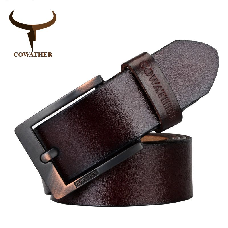 COWATHER 2017 belts for men high quality cow <font><b>genuine</b></font> leather vintage New designer pin buckle ceinture mens belts luxury XF003-4