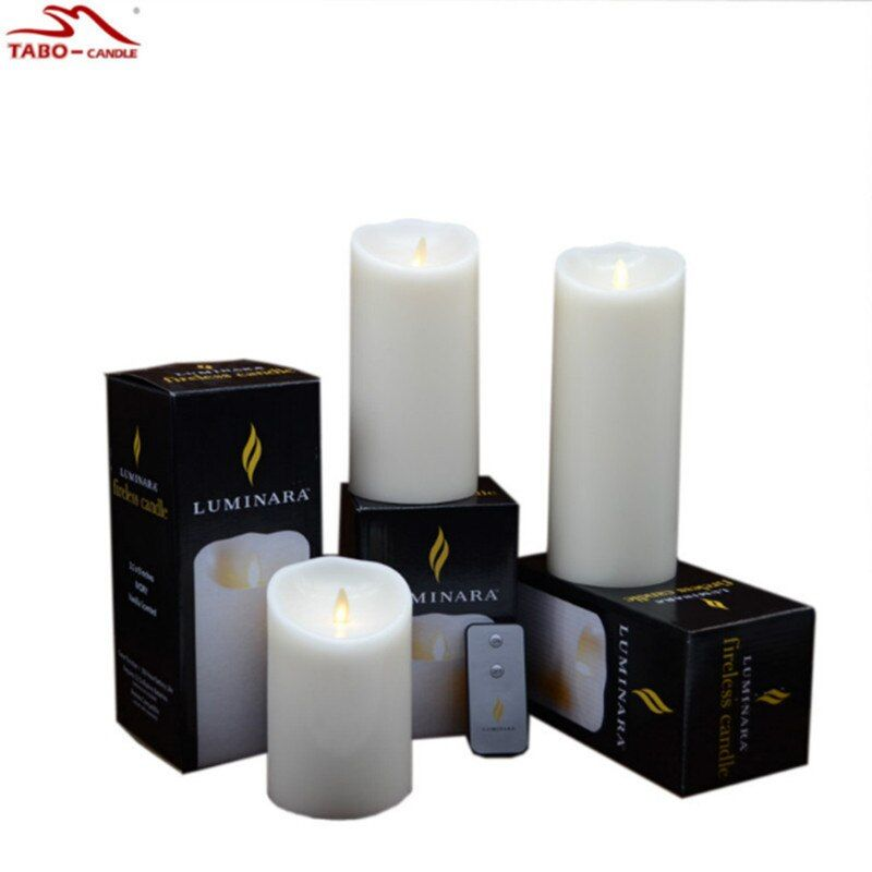 3 Pcs/set Luminara Candles LED Dancing Flameless Wax Pillar Candles with Remote for Gifts Home Wedding Christmas Decoration