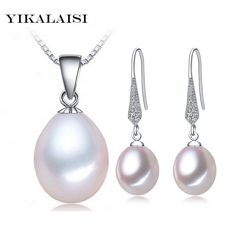 YIKALAISI 2017 Conjuntos de collar de Perlas de agua dulce naturales pendientes de gota colgante 925 joyería de plata esterlina para las mujeres mejores regalos