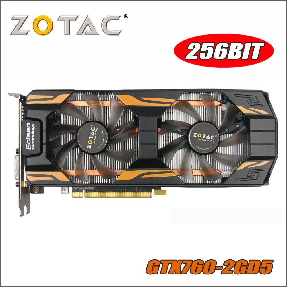 Original ZOTAC Video Card GeForce GTX760 2GD5 Thunderbolt 256Bit GDDR5 Graphics Cards for nVIDIA GTX 760 2GB 2G Hdmi Dvi 750 ti