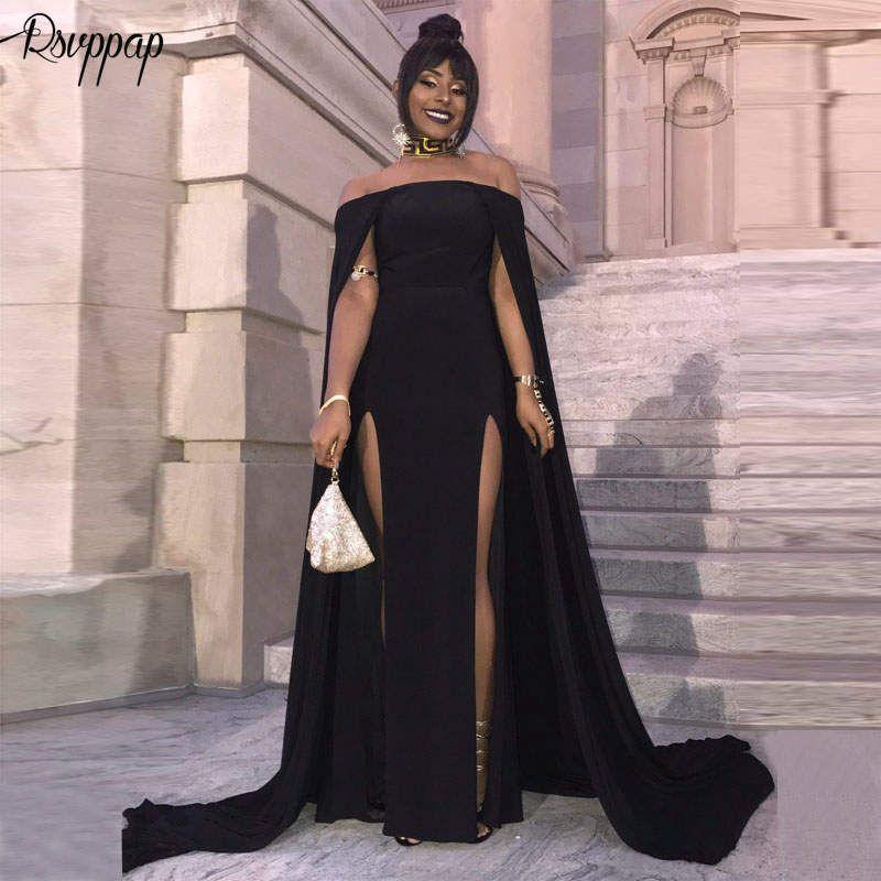 Lange Prom Kleider 2019 Sexy High Slit Boot-ausschnitt Elegante Afrikanische Partei Frauen Schwarz Meerjungfrau Prom Kleid