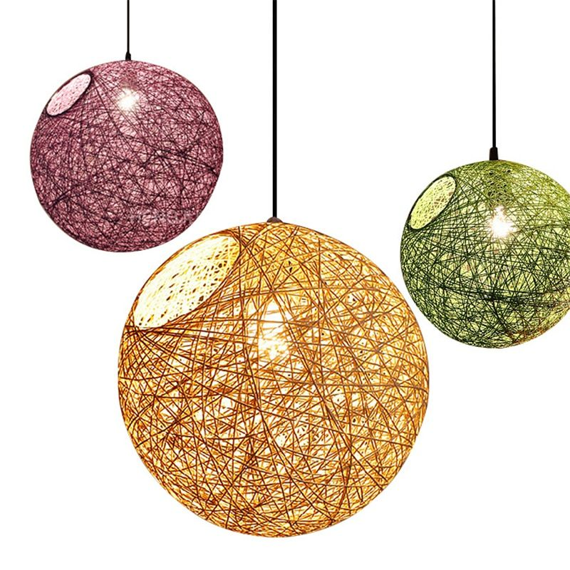 Modern E27 Pendant Lights Dining Room 90-265V Pendant Lamps Vintage Colorful Restaurant Coffee Bedroom Lighting Rattan lampshade