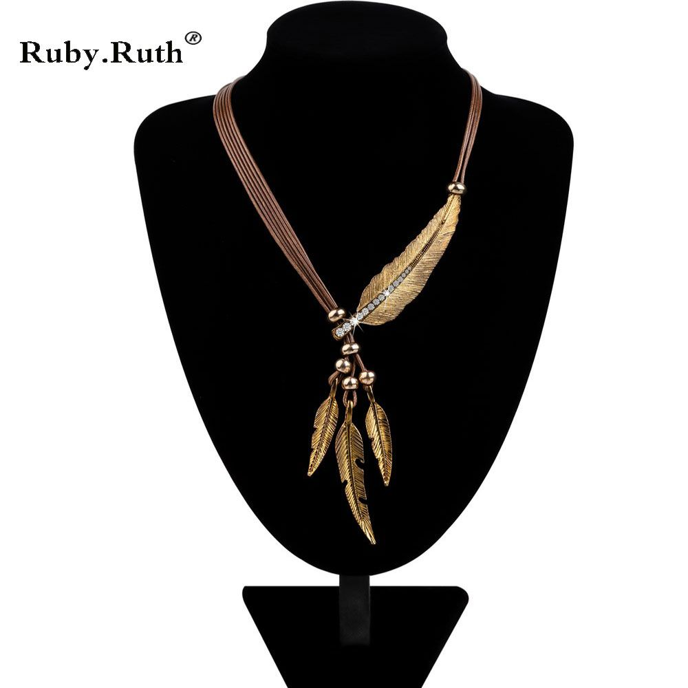 Necklace Alloy Feather Statement Necklaces Pendants Vintage  Rope Chain Necklace Women Accessories wholesale Jewelry