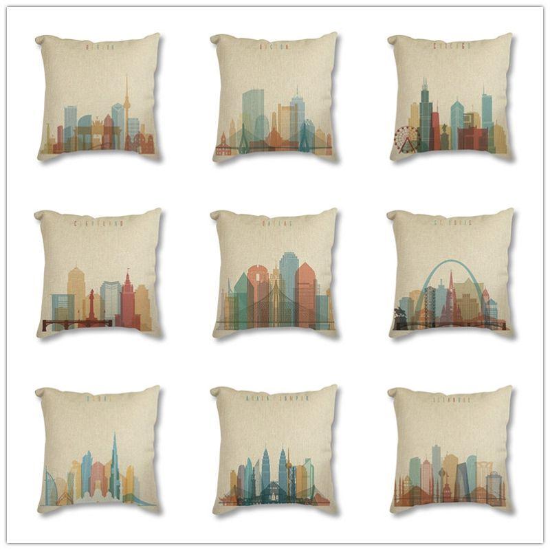 Housse de coussin décorative moderne abstraite monde ville Paris londres imprime Vintage rétro taie d'oreiller carrée jet taie d'oreiller 45x45
