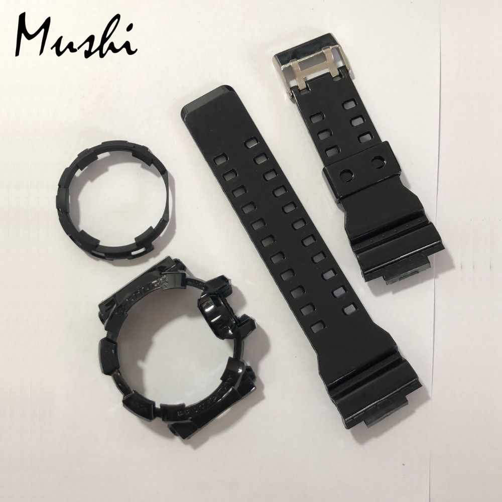 Mushi Watchbands Watch Strap Watch Case For Casio GA-400 g-shock Black Transparent Blue Ga 400 Watch Accessories