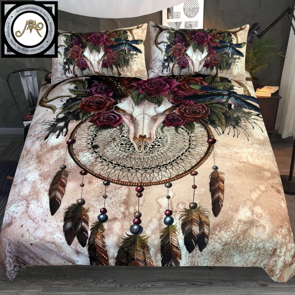 Mystery Skull Dreamcatcher by Sunima-MysteryArt Bedding Set Roses Bedclothes Floral Bed Cover Set Gothic Vintage Home Textiles