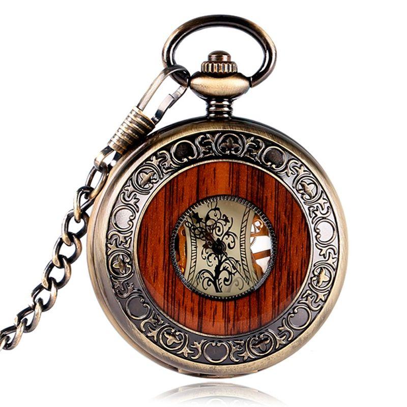 Alta Calidad de Diseño Especial Estilo Steampunk Reloj de Bolsillo Mecánico de la Mano-bobina de Cobre Hombres Talla de Madera Círculo Cadena de Moda