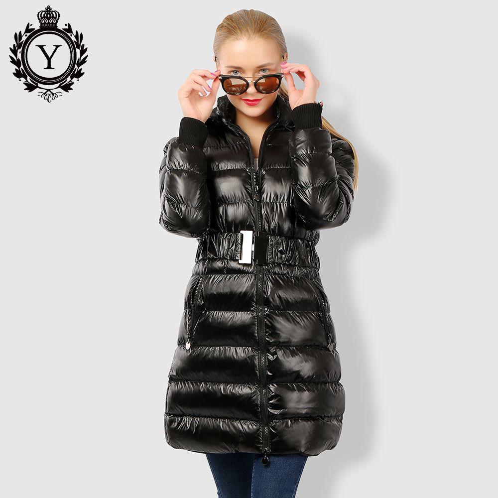 COUTUDI 2018 Long vêtement pour femme Ceinturée Hiver veste chaude Brillant noir solide parkas Femelle À Capuchon manteaux en coton Parka Manteaux longs