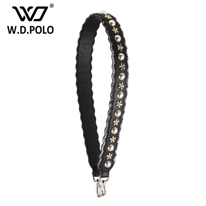 WDPOLO Nuevo cuero Partido perla flores diseño de la correa del bolso bolsa de accesorios populares de moda bolsas bolso de la correa parte fácil matchings C018