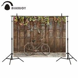 Allenjoy photography background Wooden door Plant Ancient Childhood Bike classic fantasy backdrop photography photocall props