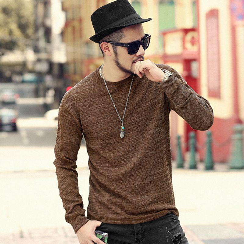 Men Autumn Winter Charcoal Black Elasticed O Neck Long Sleeve Warm Cotton T-shirt Men's Casual Slim Fit Sweatshirt Mew T906-2