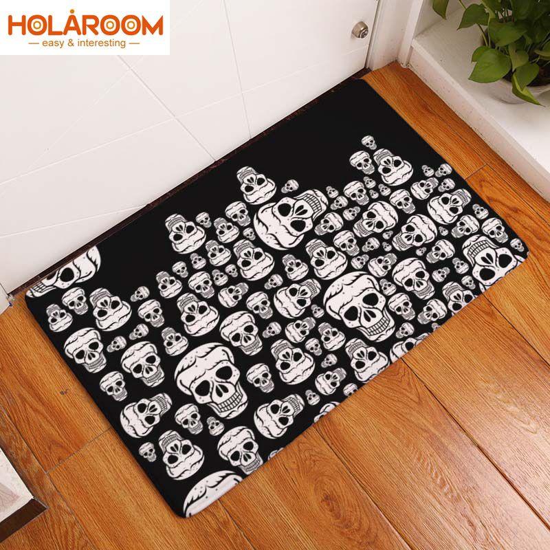 Nordique flanelle cuisine porte tapis Halloween crâne bande dessinée tapis chambre tapis citrouille décoratif escalier tapis décor maison artisanat tapis