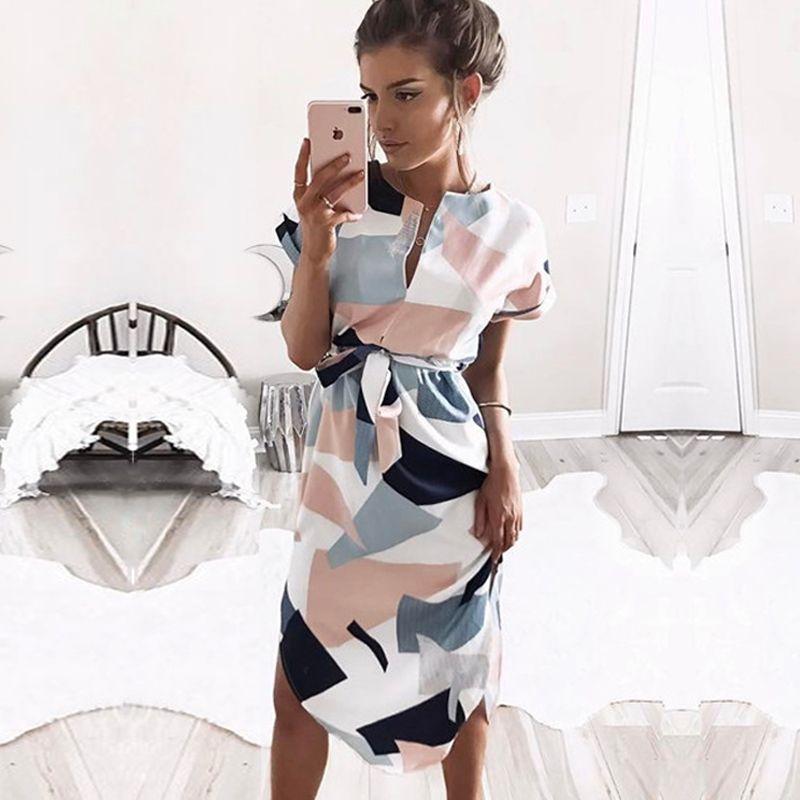 2019 offre spéciale femmes Midi robes de soirée géométrique imprimé été Boho plage robe ample chauve-souris manches robe Vestidos grande taille