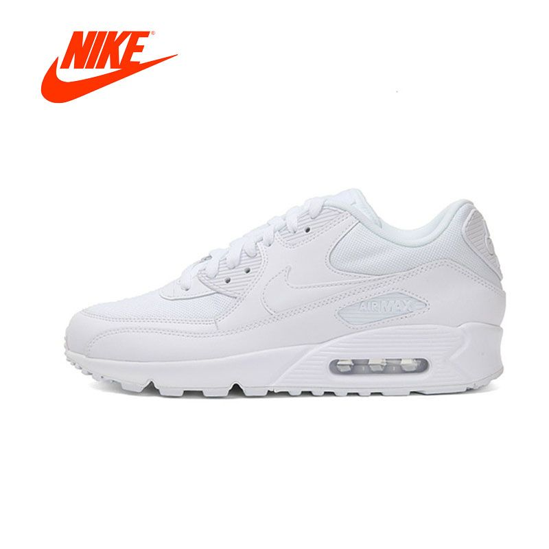 Original New Arrival Authentic Nike AIR MAX 90 ESSENTIAL Men's Breathable Running Shoes Sport Outdoor Sneakers White 537384-111