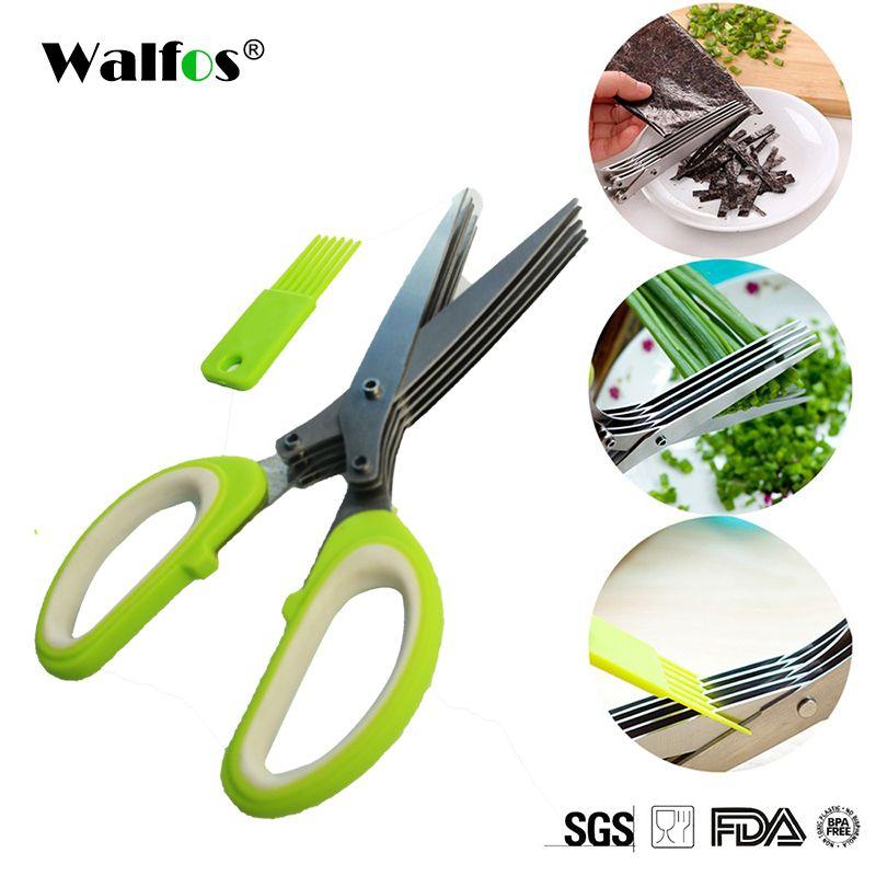 WALFOS multifunktionale Edelstahl Küchenmesser 5 Klingen Schere Sushi Shredded Scallion Cuttter Herb Gewürze Schere