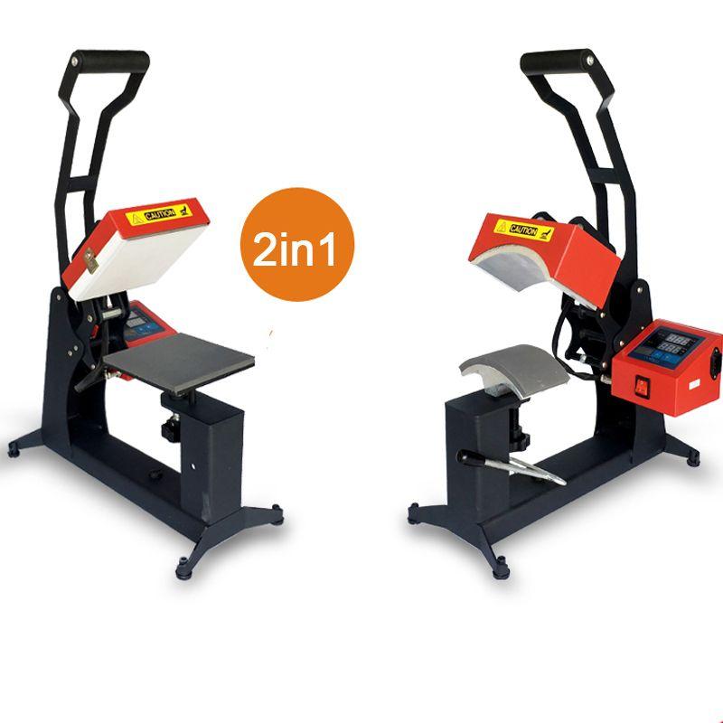 2 in 1 Digitale Doppel Display Kappe Wärme Drücken Maschine 15x15 cm Logo Drucker DIY Sublimation Drucker Label druck Maschine
